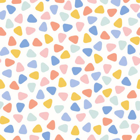Illustration pour Triangle mosaic pattern design background, cute vector seamless abstract repeat of tiny colourful triangles. - image libre de droit
