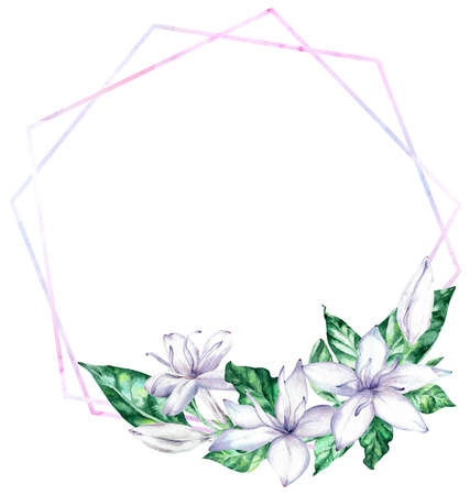 Photo pour Watercolor frame with white coffee flowers and green leaves. - image libre de droit