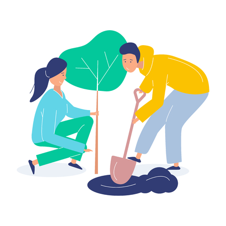 Ilustración de Girl and boy volunteers plant a tree. Landscaping the planet. Vector flat modern illustration on white background - Imagen libre de derechos