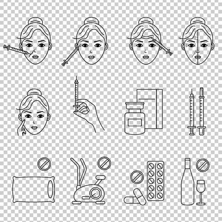 Illustration pour Beauty injection line icon. Woman, face, medical syringe. Beauty care concept. Can be used for topics like rejuvenation, aesthetics, cosmetology - image libre de droit