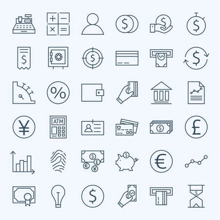 Line Finance Money and Banking Icons Set. Vector Set of 36 Line Art Modern Icons for Web and Mobile. Bank and Banking. Debit and Credit. Money and Finance Items. Business Investments and Earnings Objects.