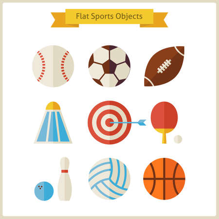Flat Sports Objects Set.