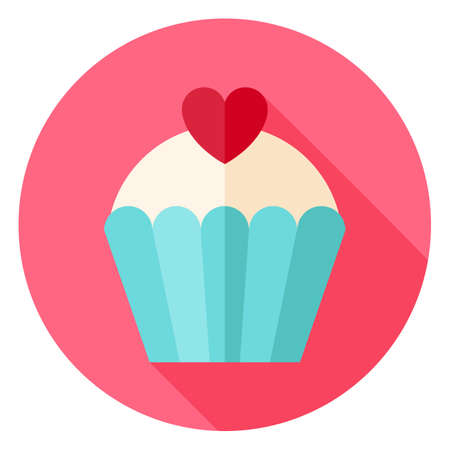 Illustration pour Cute Lovely Cupcake with Heart Circle Icon. Flat Design Vector Illustration with Long Shadow. Happy Valentine Day and Love Symbol. - image libre de droit