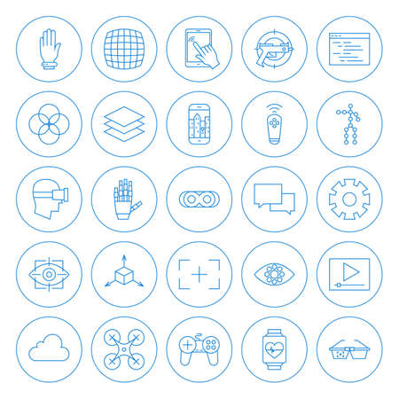 Illustration pour Line Circle Virtual Reality Icons Set. Vector Set of Modern Innovation Technology Thin Line Icons of Augmented Reality Circle Shaped Isolated over White Background. - image libre de droit