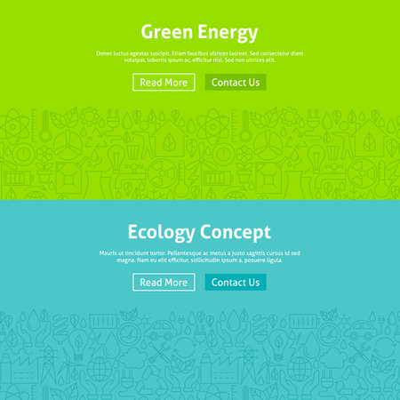 Ilustración de Ecology Green Energy Line Art Web Banners Set. Illustration for Website banner and landing page. Eco Power and Environment Modern Design. - Imagen libre de derechos