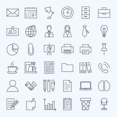 Illustration pour Line Business Office Icons Set. Set of Modern Thin Outline Working Place and Job Items. - image libre de droit