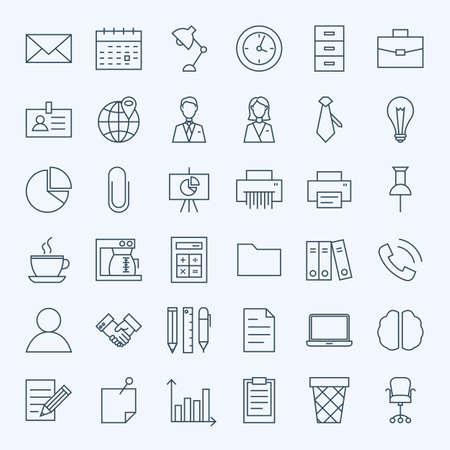 Ilustración de Line Business Office Icons Set. Set of Modern Thin Outline Working Place and Job Items. - Imagen libre de derechos