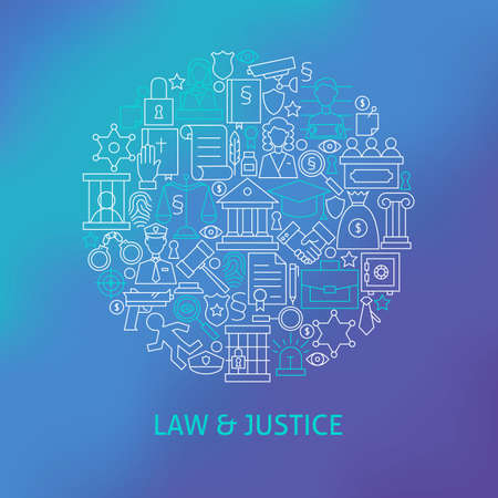 Thin Line Law and Justice Icons Set Circle Concept. Vector Illustration of Crime Attorney and Lawyer Outline Objects over Blue Blurred Background.