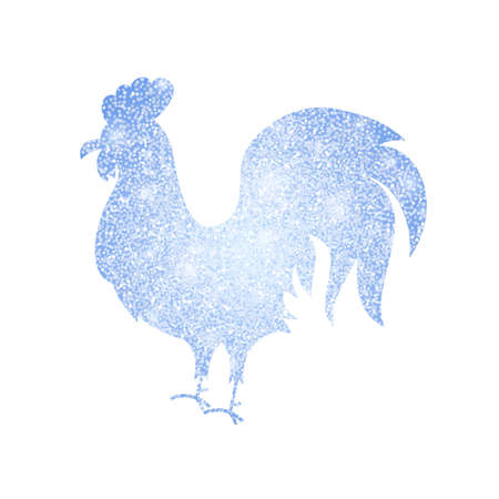 Frozen Silver Rooster Silhouette. Vector Illustration of Chinese Happy New Year Symbol.