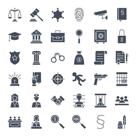 Illustration for Law Justice Solid Web Icons - Royalty Free Image