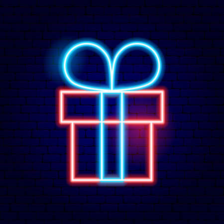 Photo for Present Box Neon Sign. Vector Illustration of Winter Holiday Promotion. - Royalty Free Image