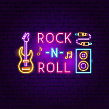 Rock N Roll Neon Sign  Vector Illustration of Music
