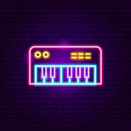 Synthesizer Neon Sign  Vector Illustration of Music