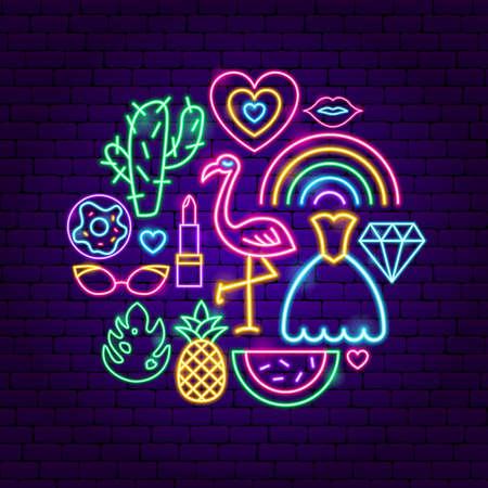 Ilustración de Trendy Girl Neon Concept - Imagen libre de derechos