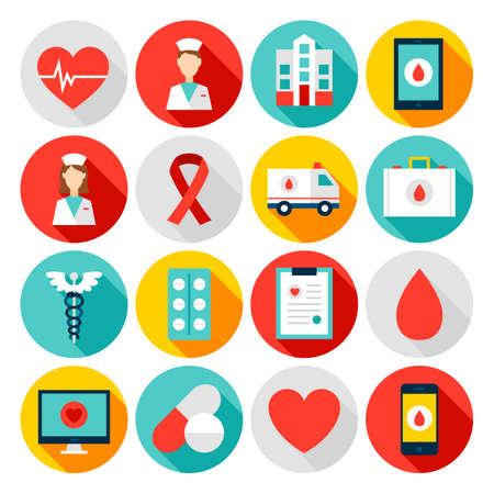 Illustration pour Medicine Health Flat Icons - image libre de droit