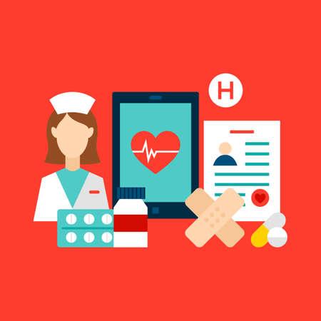Illustration pour Health Care Clinic Concept - image libre de droit