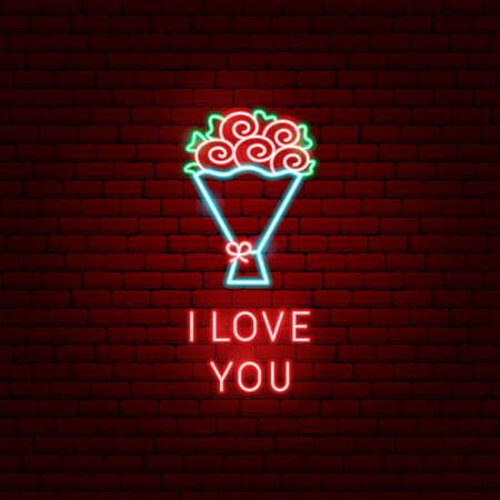Illustration pour I Love You Flowers Neon Label - image libre de droit
