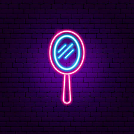Illustration pour Hand Mirror Neon Sign - image libre de droit