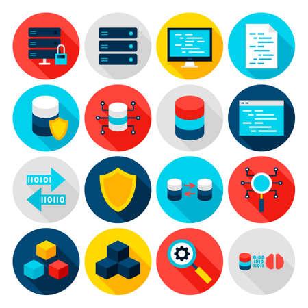 Illustration pour Big Data Flat Icons - image libre de droit