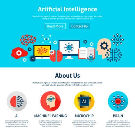 Illustration pour Artificial Intelligence Website Design - image libre de droit