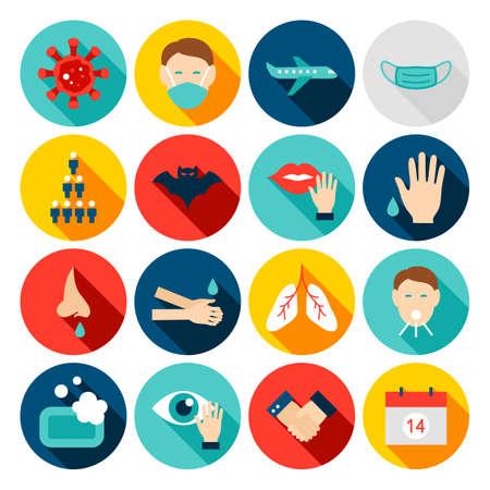 Illustration for Coronavirus Prevention Flat Icons - Royalty Free Image