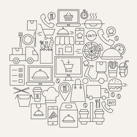 Illustration pour Food Delivery Line Icons Circle. Vector Illustration of Outline Design. - image libre de droit