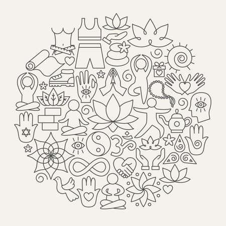 Illustration for Yoga Line Icons Circle - Royalty Free Image