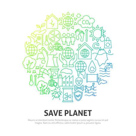 Illustration pour Save Planet Circle Concept - image libre de droit