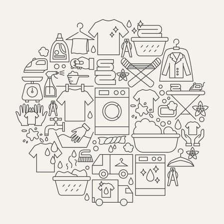 Illustration pour Laundry Line Icons Circle - image libre de droit