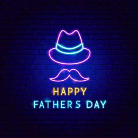 Illustration for Happy Fathers Day Neon Label - Royalty Free Image