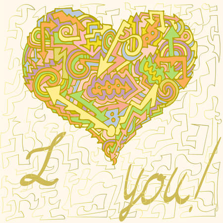 Valentine Card written I love you, for the beloved, painted the heart of the arrows, waves, hooks, keys, steps and figures, love, painting, monogram, gold, colored, green, pink, yellow, blue, red,