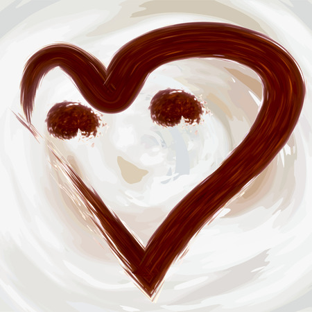 Heart of a smile from coffee, cocoa on a background of abstractly drawn in a vector waves of latte, milk and whipped cream