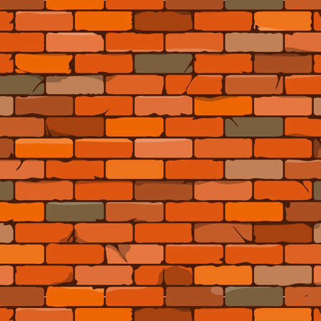 Illustration for Seamless brown brick wall background in cartoon style. Vector illustration - Royalty Free Image