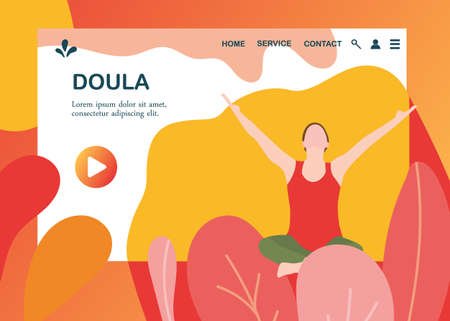 Illustration for Doula for pregnant woman banner template in a modern cartoon style. Prenatal service website page. Vector illustration - Royalty Free Image
