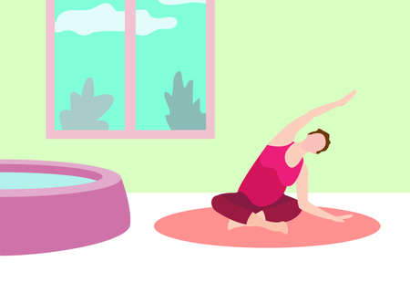 Illustration for Pregnant woman exercise yoga banner in a modern cartoon style. Vector illustration - Royalty Free Image