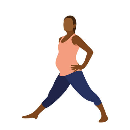 Illustration for Young pregnant woman exercise yoga in flat style. Vector illustration - Royalty Free Image