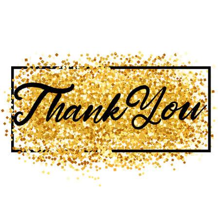 Illustration pour Thank You Lettering over Gold. Vector Illustration of Calligraphy with Golden Sparkle Decoration. - image libre de droit