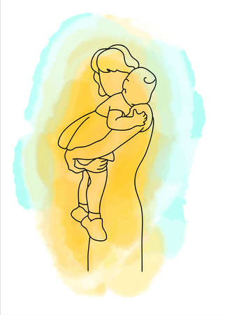 Illustration for A mother holds a child in her arms. They hugged tightly. Illustration in the style of linear art. - Royalty Free Image