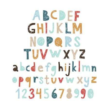 Illustration pour Hand drawn doodle abc, cut out font. Vector illustration. - image libre de droit