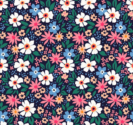 Illustration pour Elegant floral pattern in small white, light blue and pink flowers. Liberty style. Floral seamless background for fashion prints. Ditsy print. Seamless vector texture. Spring bouquet. - image libre de droit