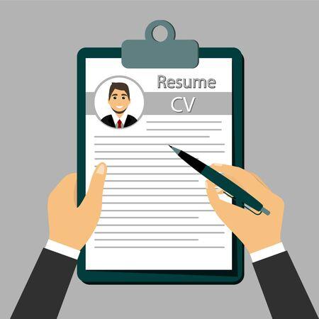 Illustration pour Check Resume, The concept of resume in the hands. - image libre de droit