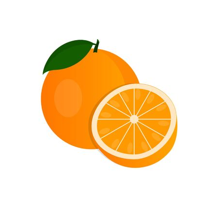 Illustration for Vector orange, Whole orange and in cut. - Royalty Free Image
