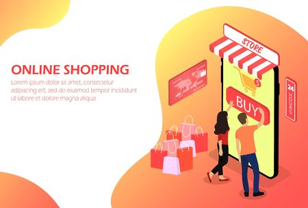 Illustration pour Online shopping, Online store People - image libre de droit