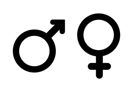 Ilustración de Male and female symbol, Male and female gender icons. - Imagen libre de derechos