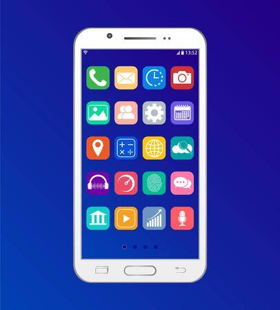 Illustration pour App on the smartphone, The desktop interface on the phone. - image libre de droit