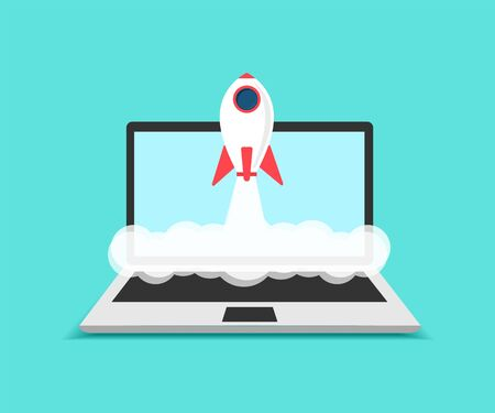 Illustration for Business startup, Concept laptop and rocket launch. - Royalty Free Image
