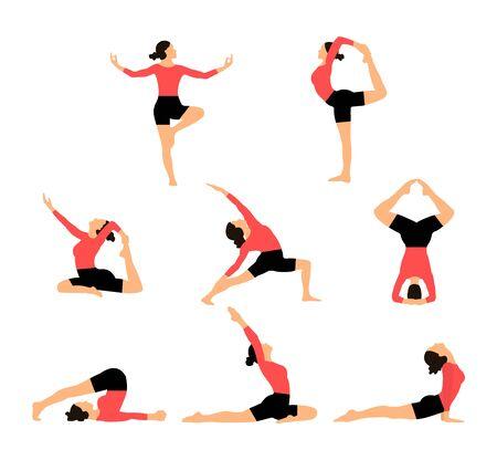 Illustration pour Yoga for women, Yoga poses - image libre de droit