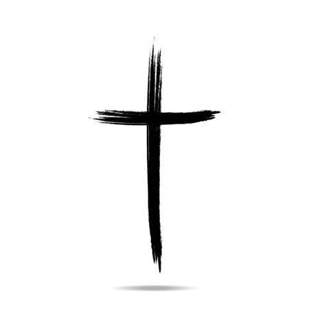 Illustration pour Christian cross sign, Hand drawn black grunge cross icon -Vector illustration, eps10 - image libre de droit