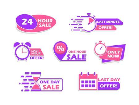 Illustration pour Set of advertising banners, countdown time icons, vector illustration. - image libre de droit