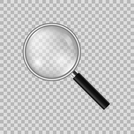 Illustration pour Realistic magnifier on a transparent background. Model of a magnifying glass. - image libre de droit